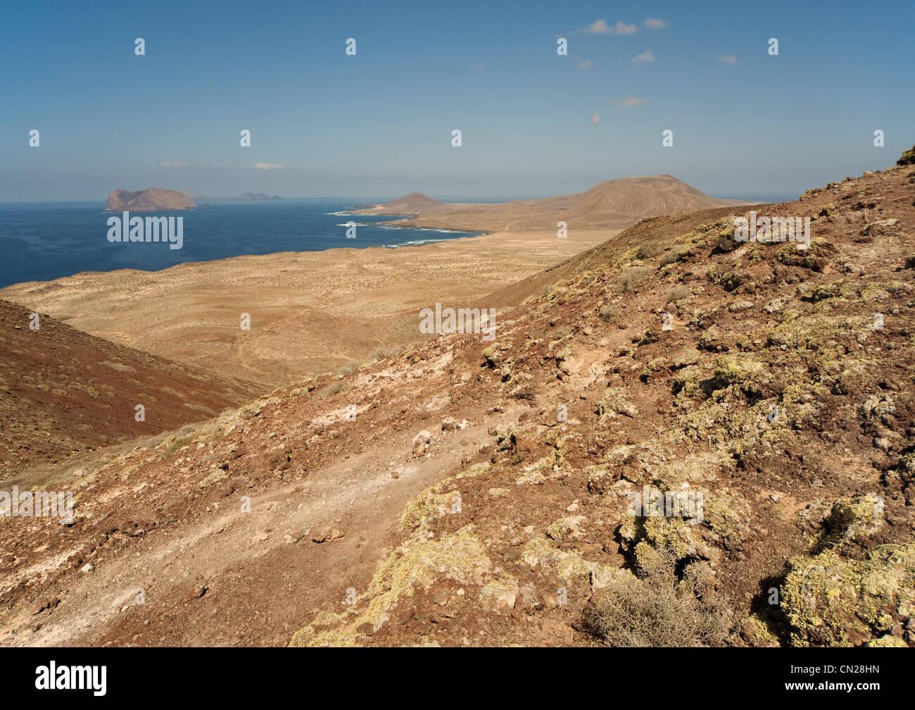 Looking from the island of La Graciosa towards Isla de Montaña Clara, Canary Islands, Canaries, Spain - Stock Image