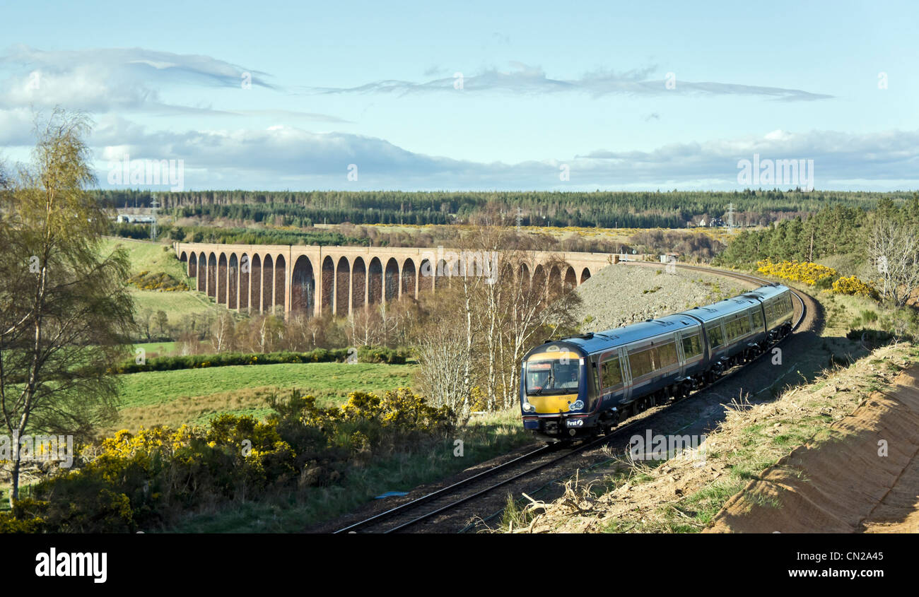 First Scotrail Class 170 DMU has just passed the Nairn Viaduct en route from Inverness to Perth and Glasgow Scotland - Stock Image