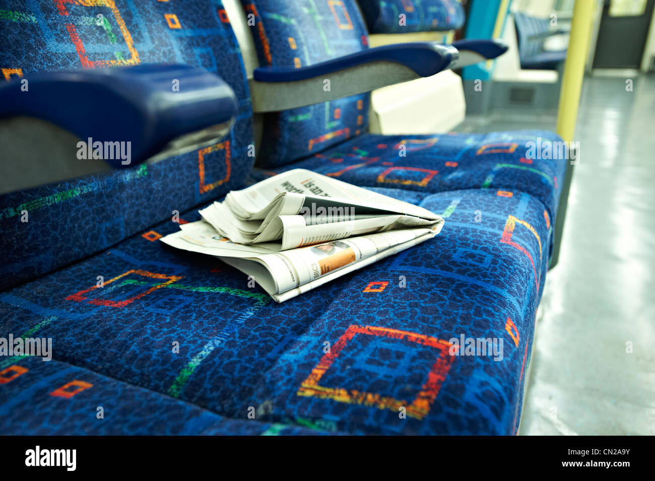 Rubbish on a tube train - Stock Image