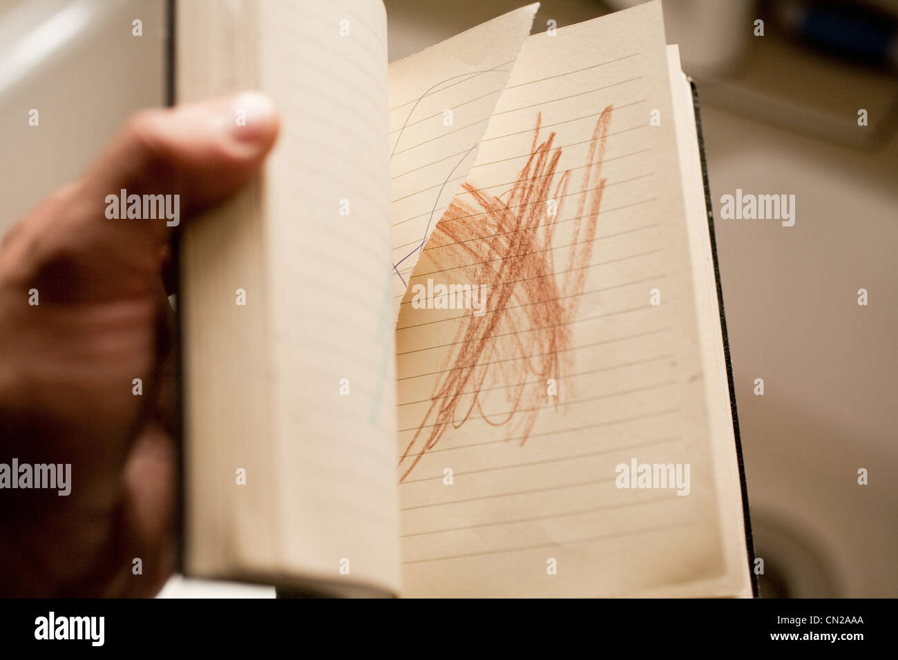 Person holding notebook with scribble - Stock Image