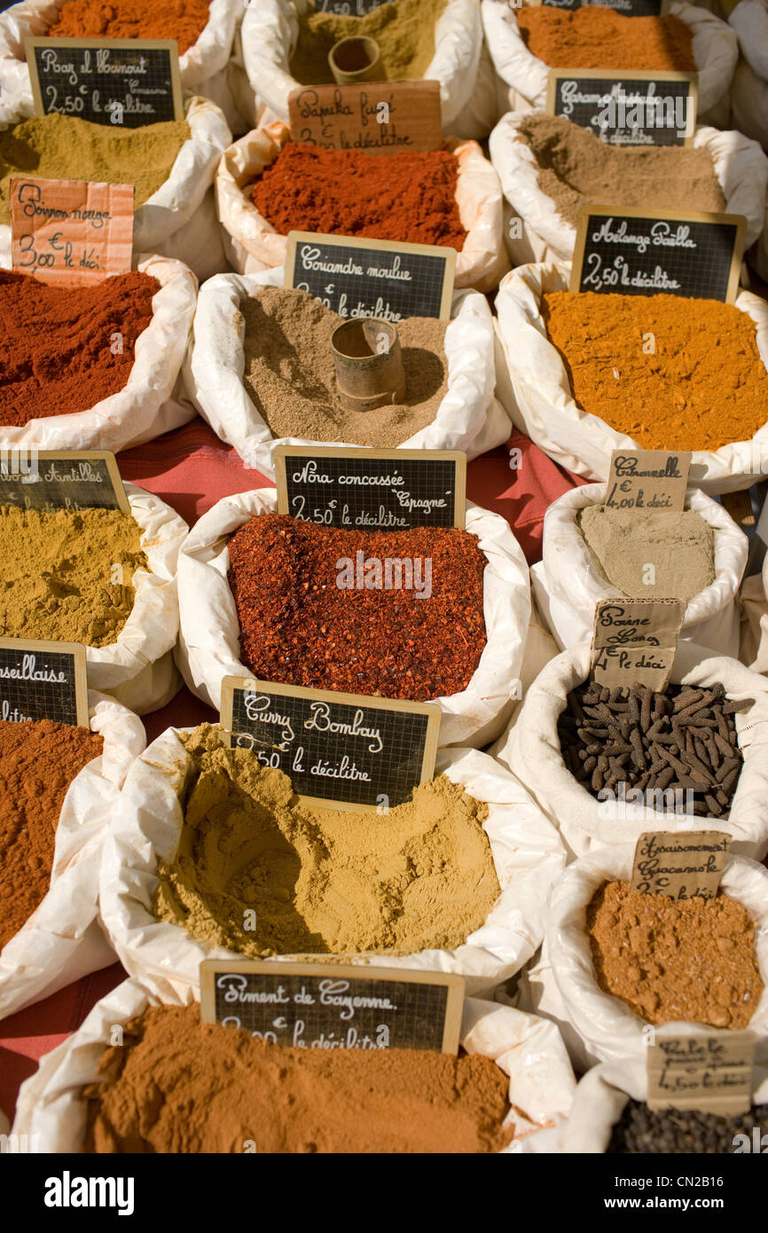 spices for sale at outdoor market - Stock Image
