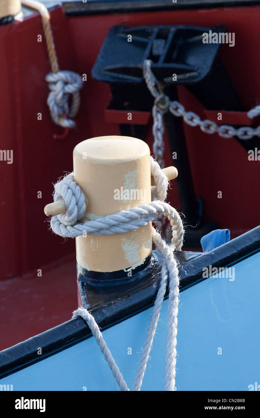 Mooring post on fishing boat, UK - Stock Image