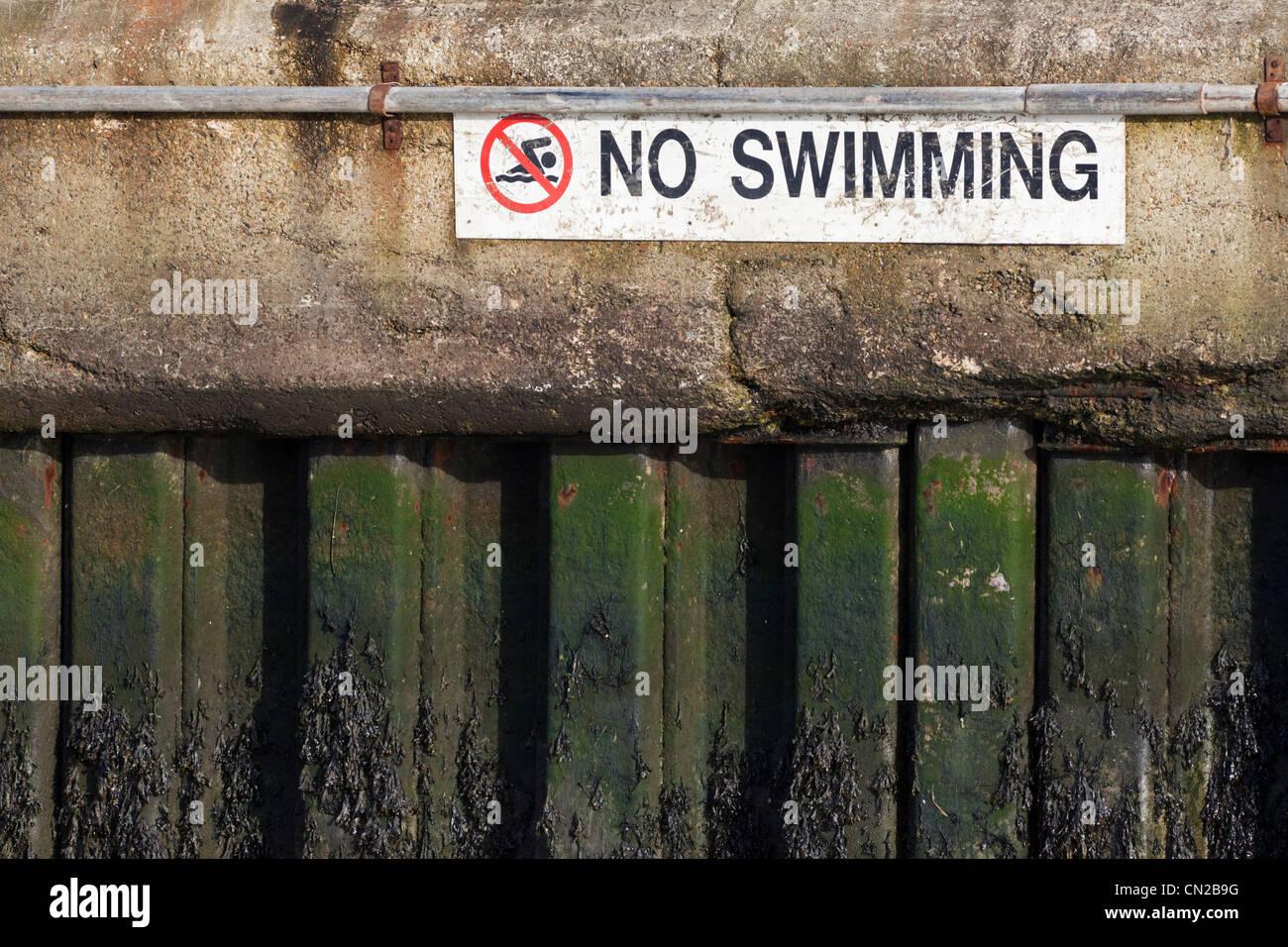 No swimming warning sign, UK - Stock Image