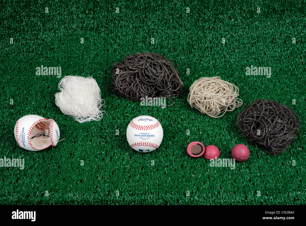 Deconstruction of a major league baseball made by Rawlings. - Stock Image