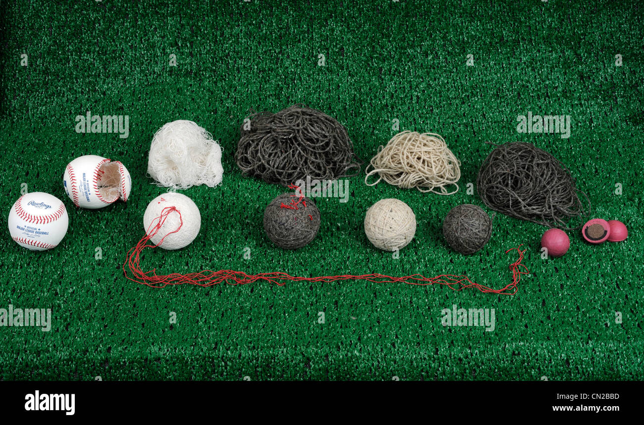 Deconstruction of a major league baseball made by Rawlings. Stock Photo