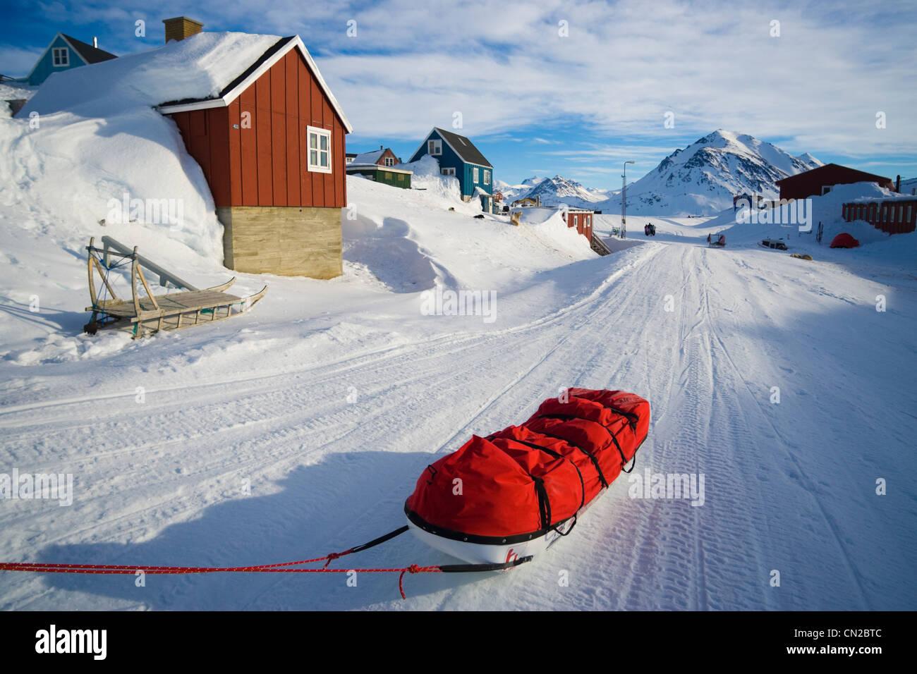 Greenland polar expedition sledge in Kulusuk village, East Coast, Greenland - Stock Image