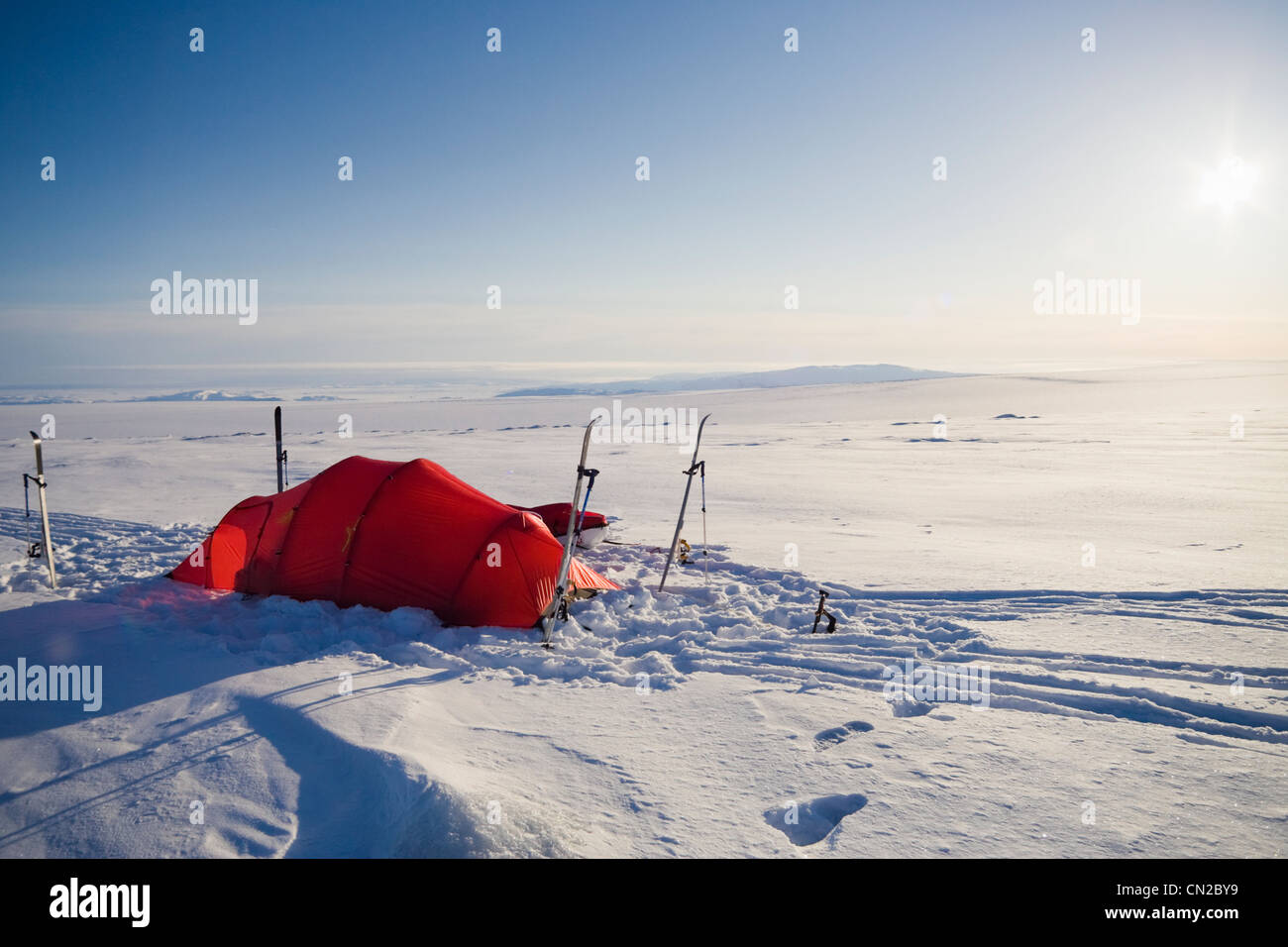 Polar expedition tent on icecap, Greenland - Stock Image