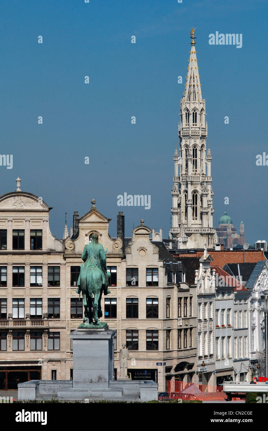 Belgium, Brussels, Mont des Arts, Mountain of the Arts, City Hall Tower - Stock Image