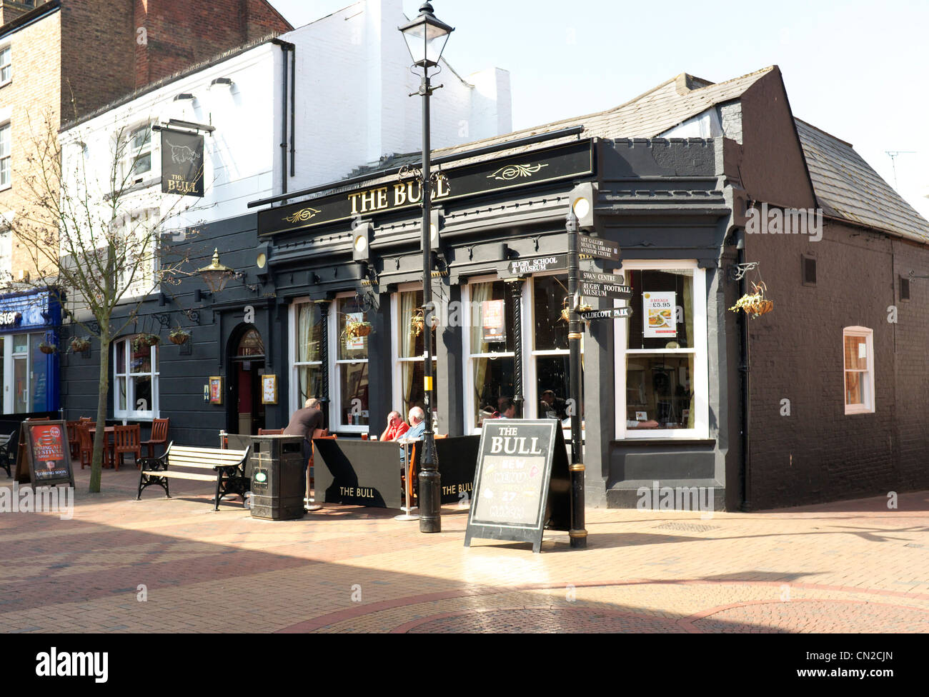"Rugby town center pubic house ""The Bull"", The Midlands, Warwickshire, United Kingdom - Stock Image"