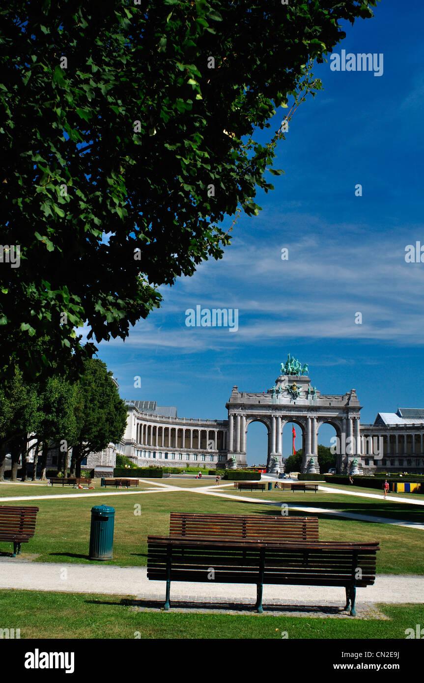 Belgium, Brussels, Triumphal Arch At Parc Du Cinquantenaire, Park Bench    Stock Image