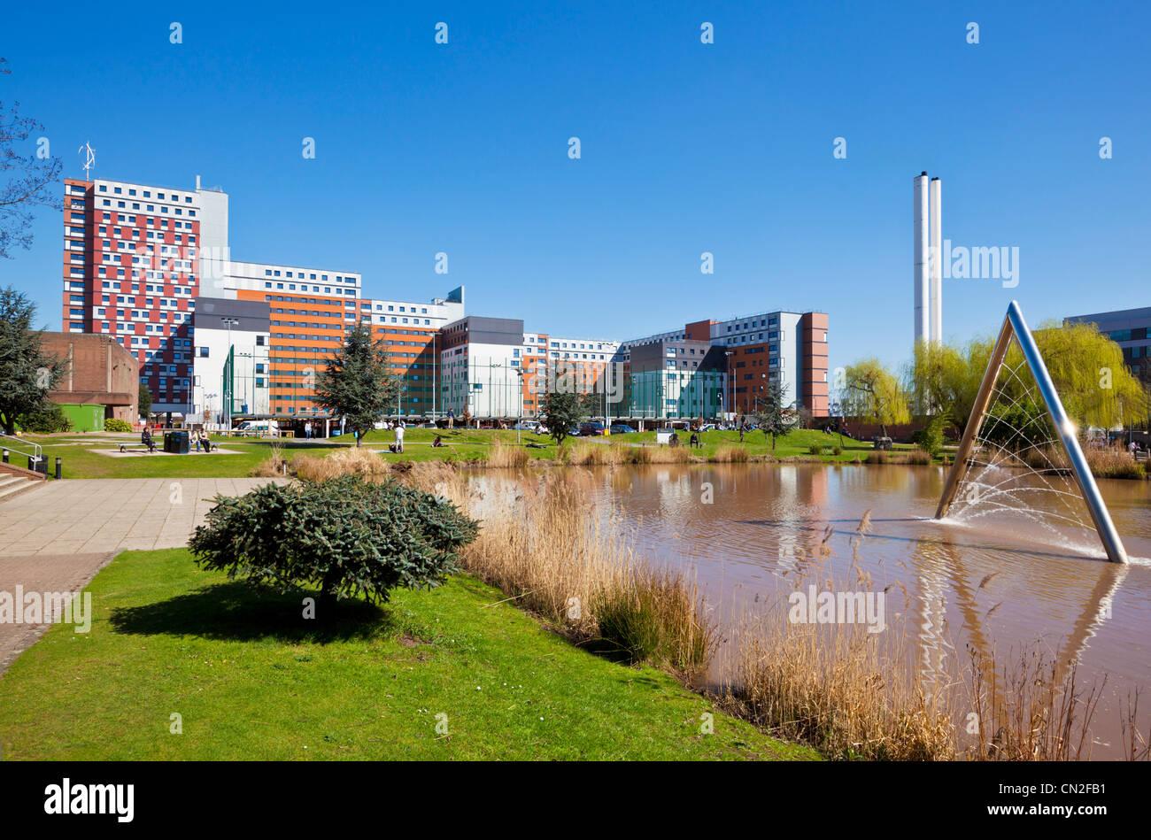 Aston university campus and lake Birmingham West Midlands England UK GB EU Europe - Stock Image