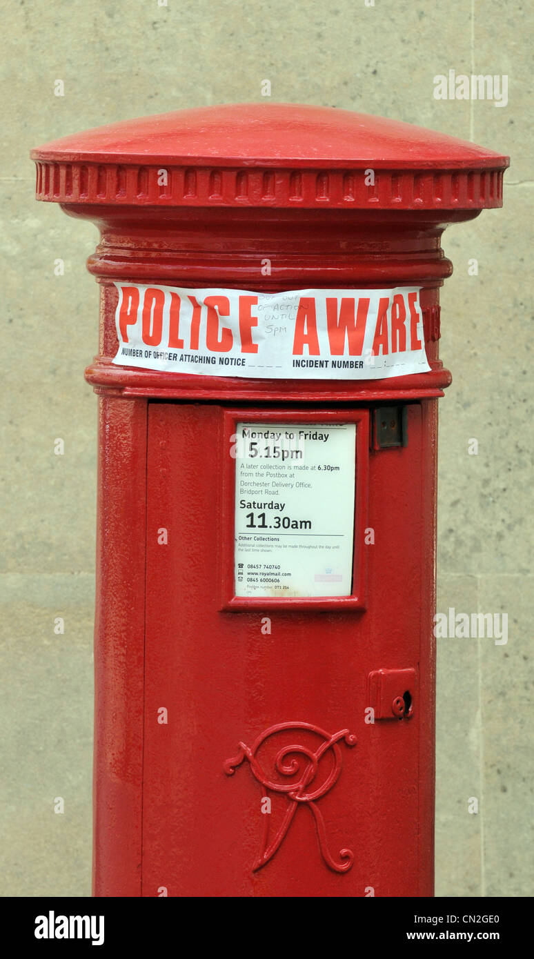 Police aware sticker on a postbox, UK - Stock Image