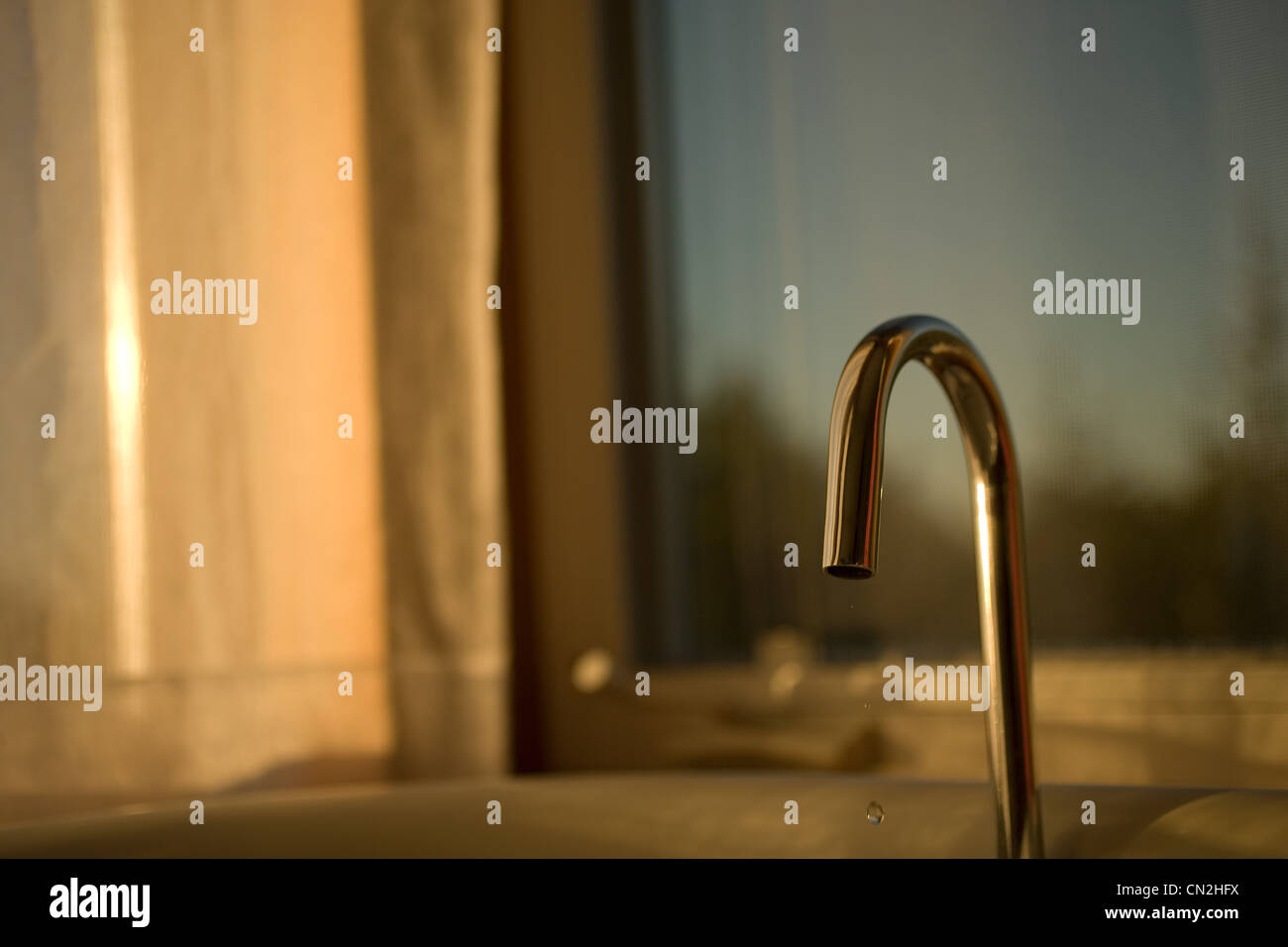 Kitchen sink faucet, close up - Stock Image