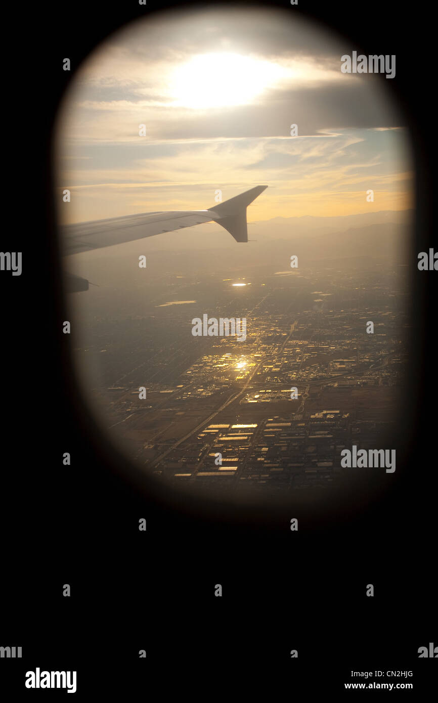 View through airplane window, Portland, Oregon, USA - Stock Image