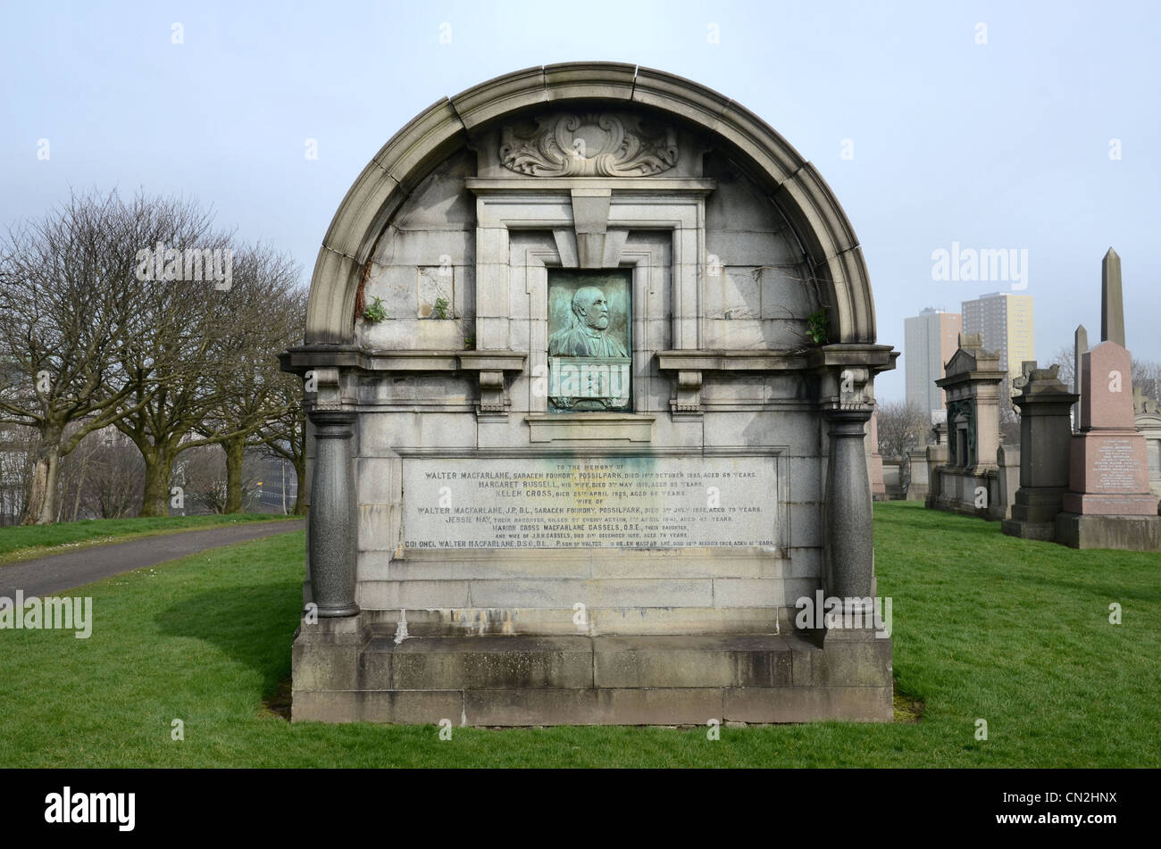 The tomb of Walter MacFarlane of the Saracen Foundry at the Glasgow Necropolis, complete with an art nouveau portrait - Stock Image