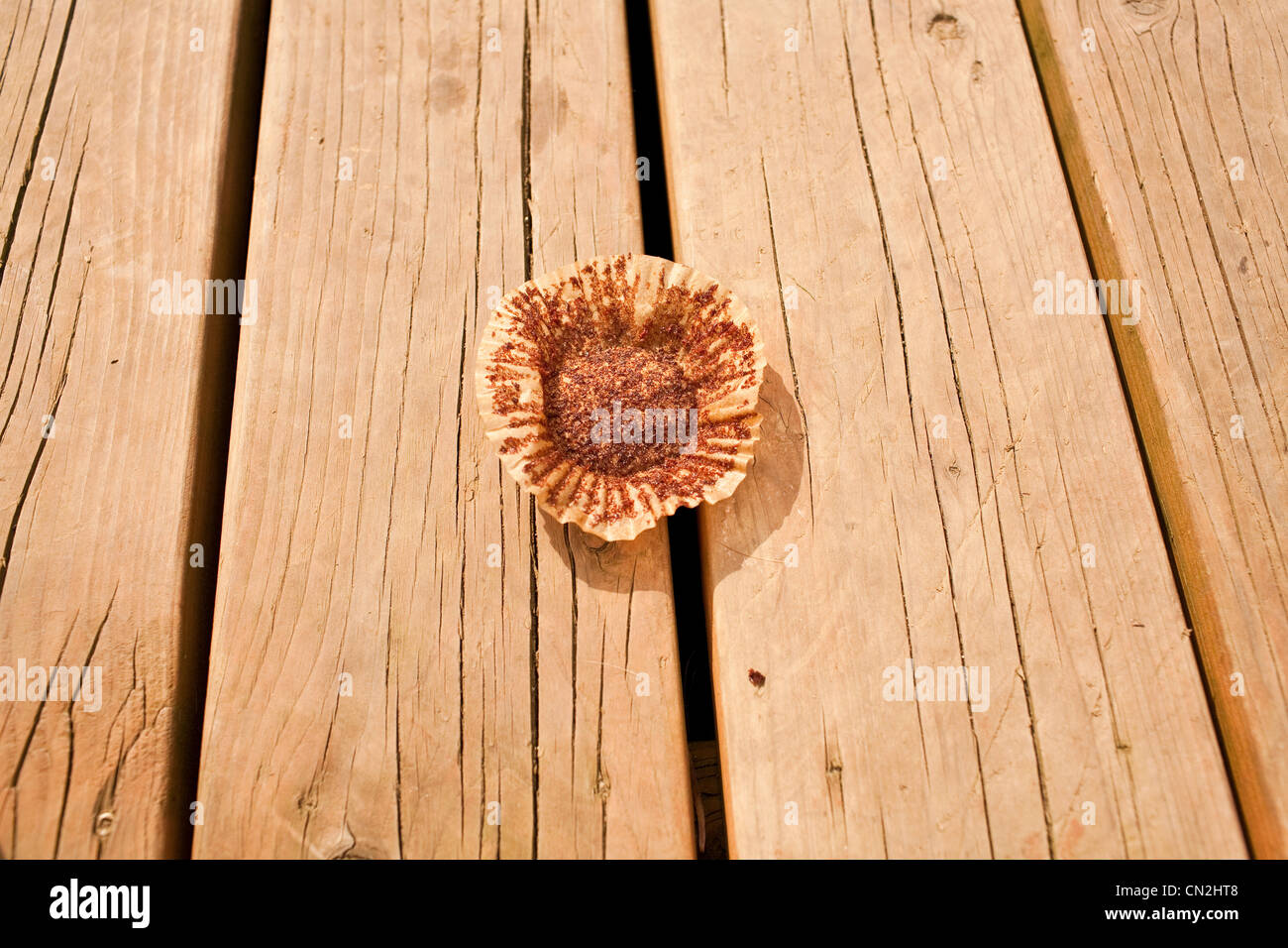 Empty cupcake wrapper - Stock Image
