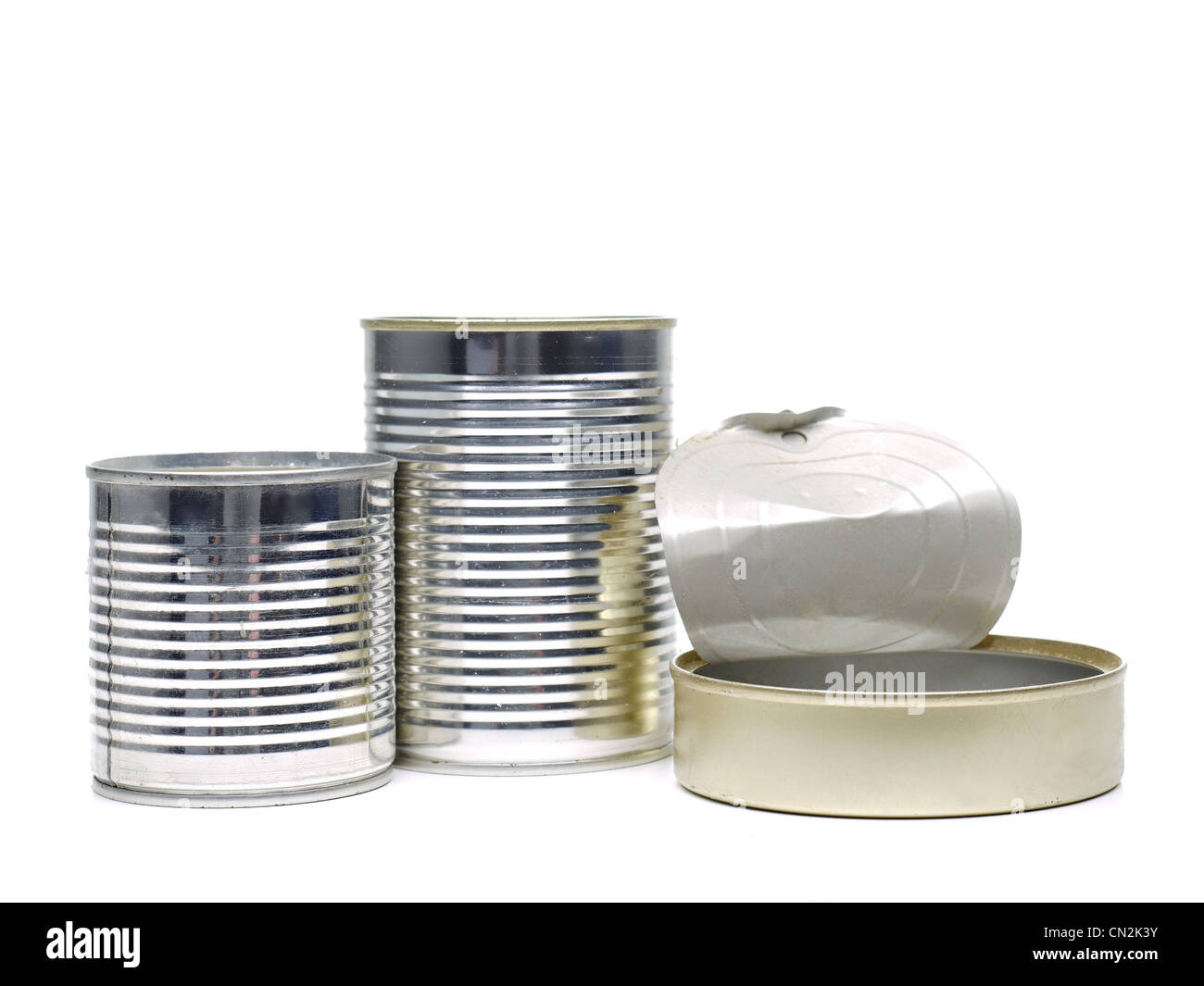 Empty food cans shot on white background - Stock Image