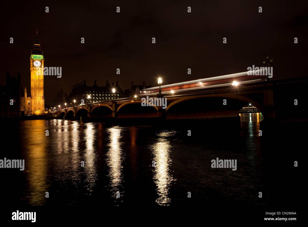 Westminster Bridge and Big Ben,London, UK - Stock Image