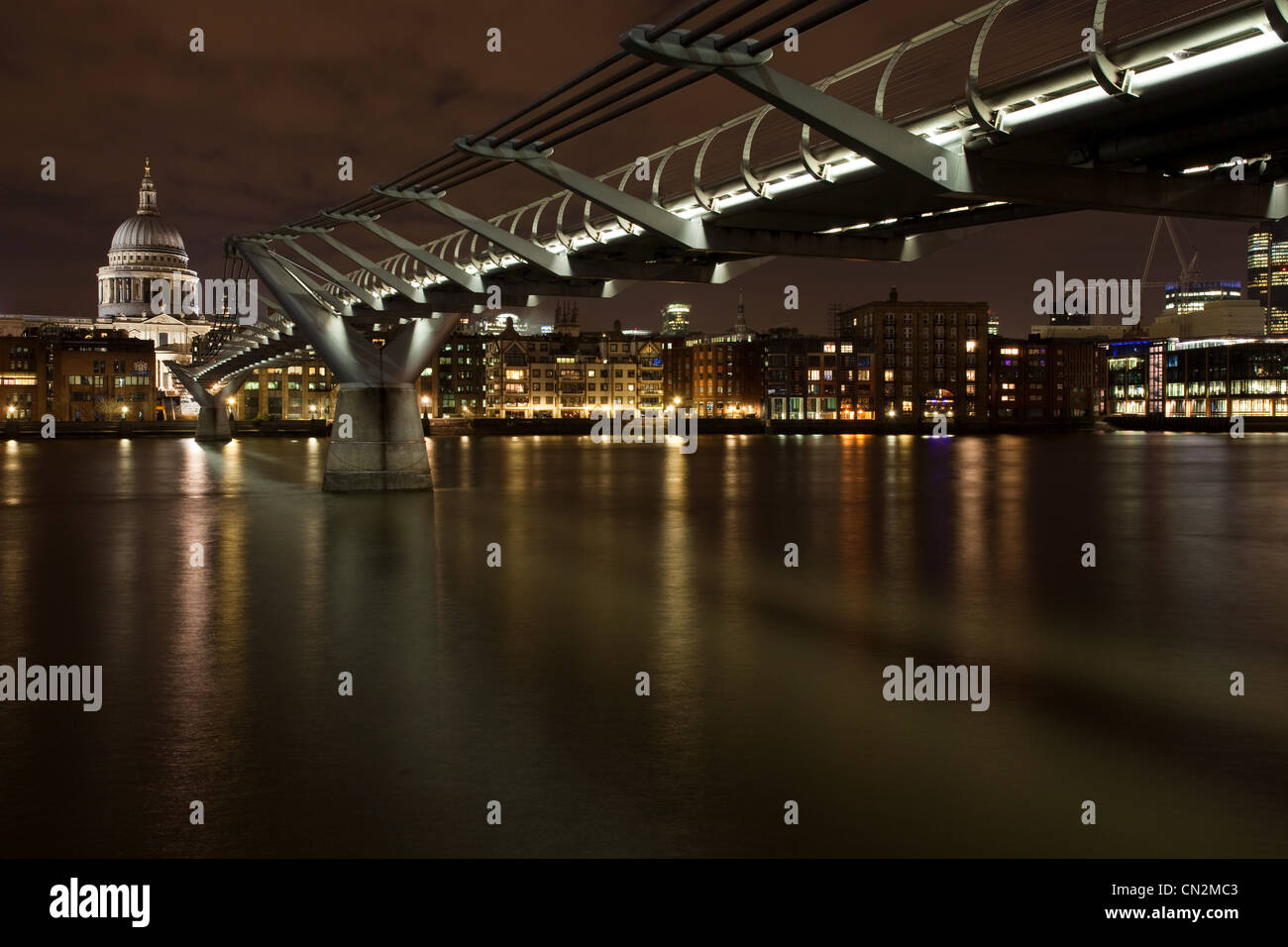Millennium Bridge and River Thames, London, UK - Stock Image