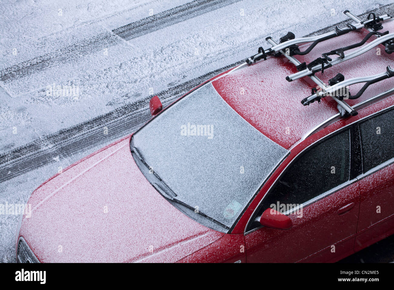 Car covered in frost Stock Photo