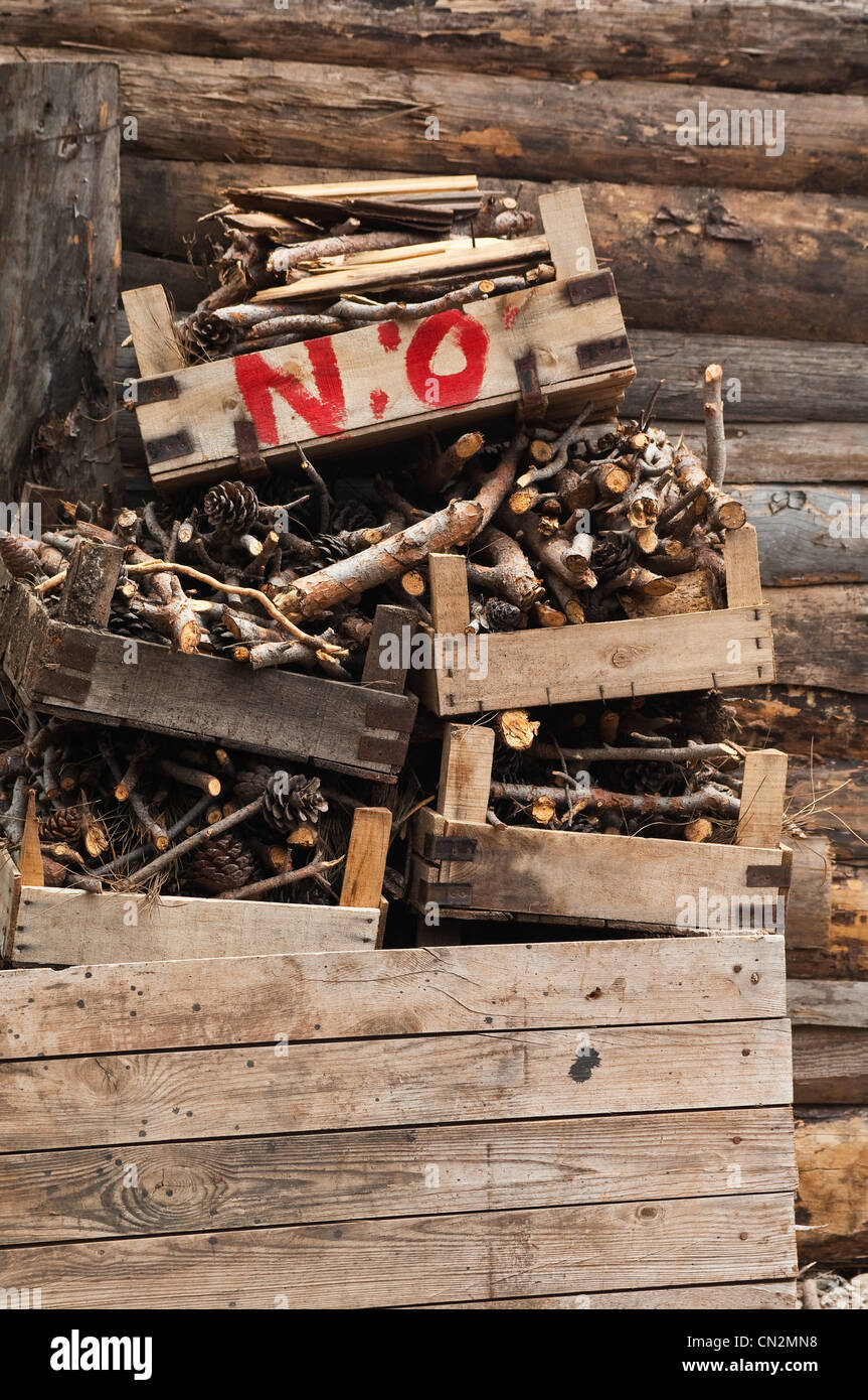 Wooden crates with word no - Stock Image
