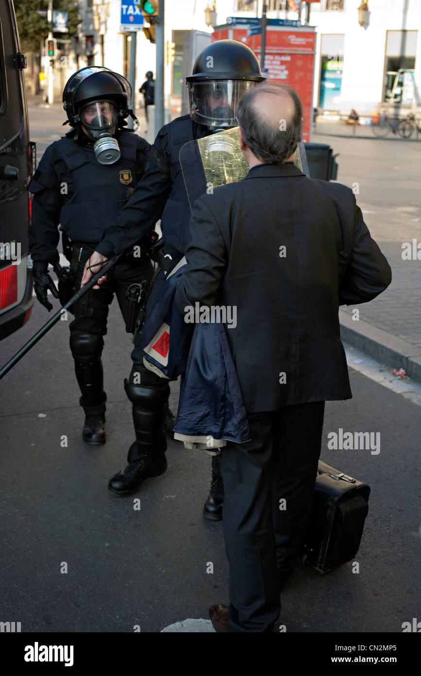 riot police barcelona - Stock Image