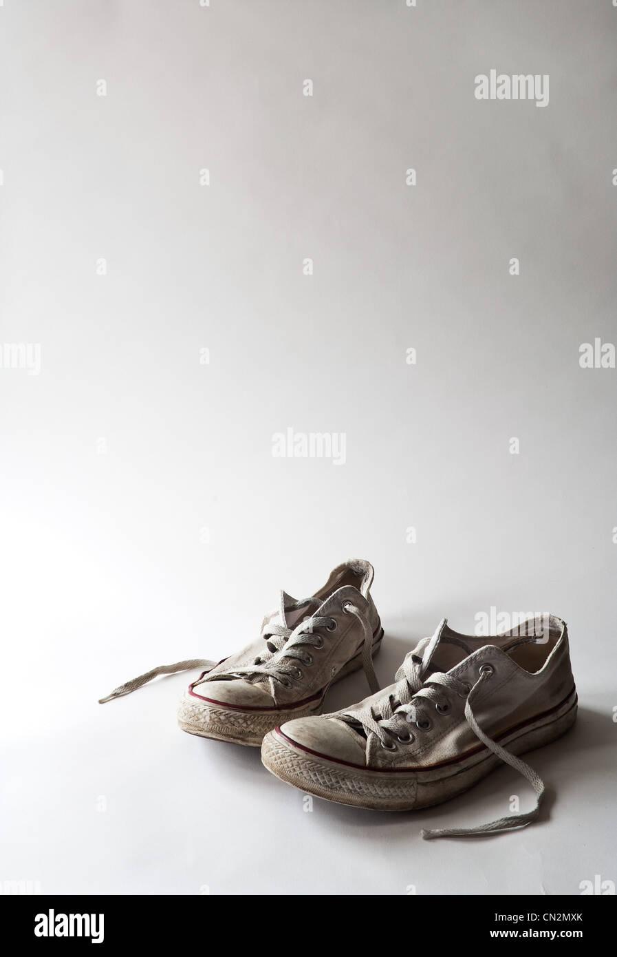 Pair of training shoes, studio shot - Stock Image