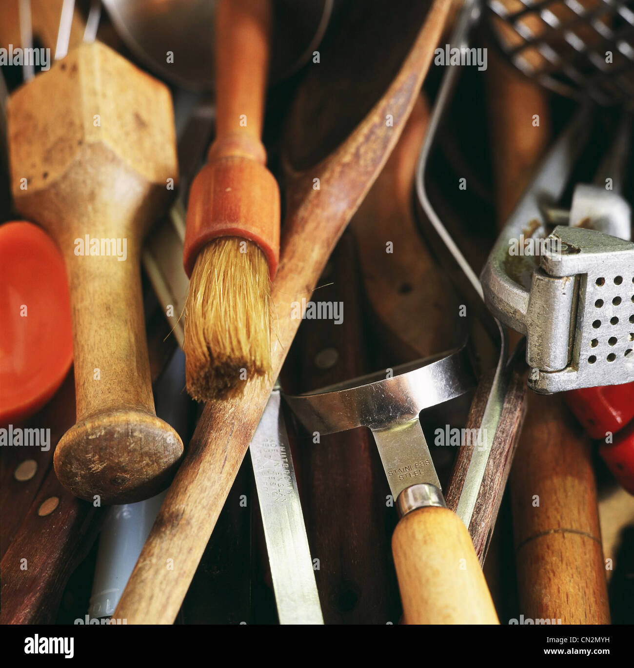 Kitchen utensils, close up - Stock Image