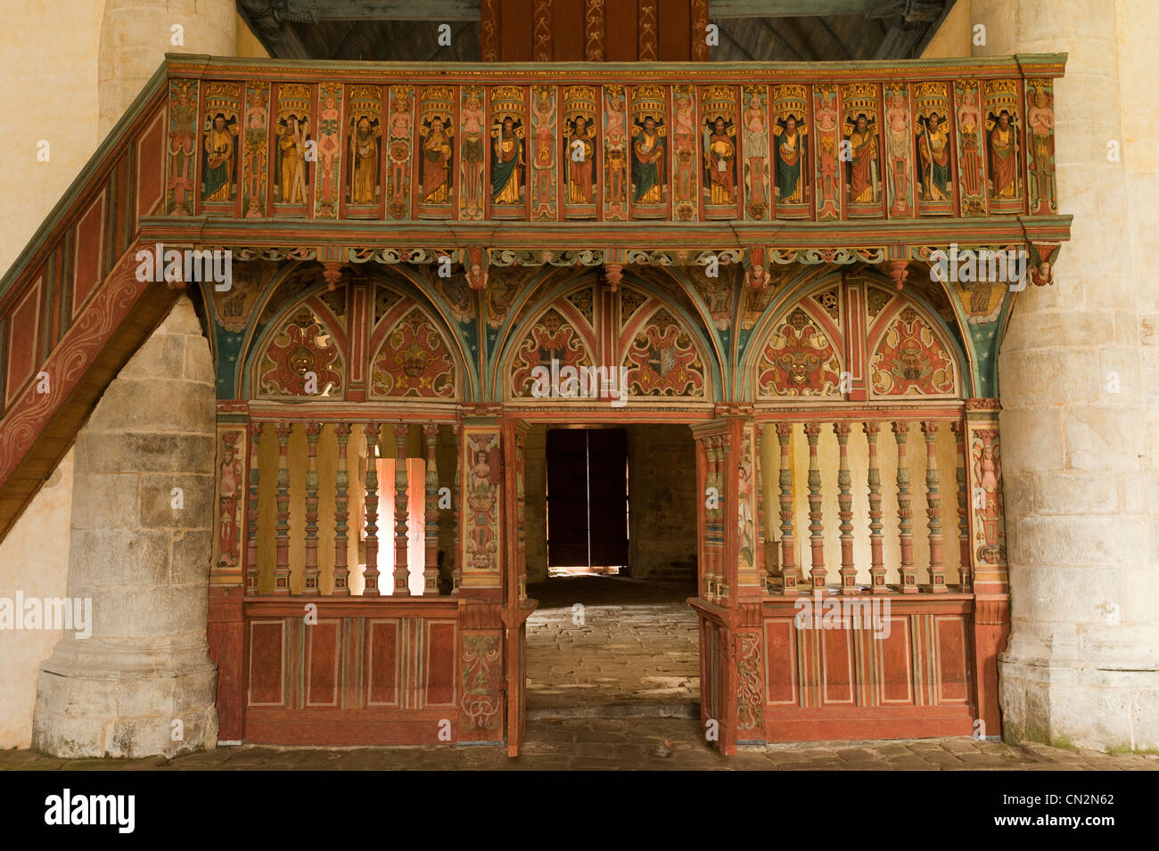 France, Morbihan, Priziac, St Nicolas chapel, polychrome wooden jube depicting the legend of St. Nicolas Stock Photo