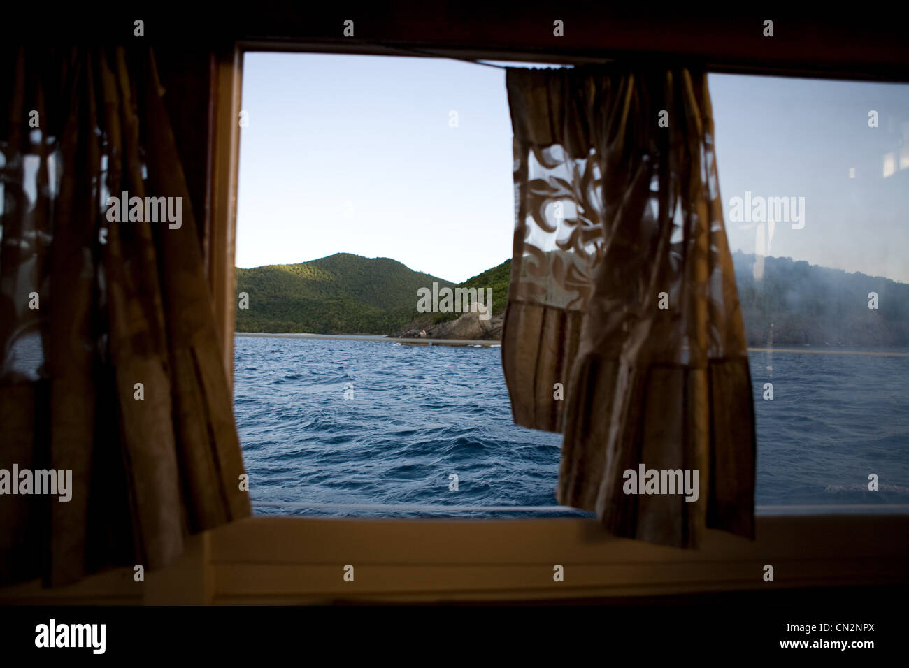View through boat window, St John, US Virgin Islands - Stock Image