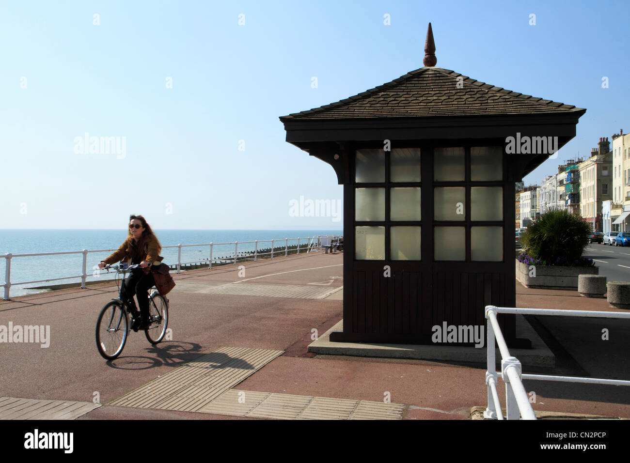 Seafront cycle lane, St Leonards-on-sea, East Sussex, UK - Stock Image