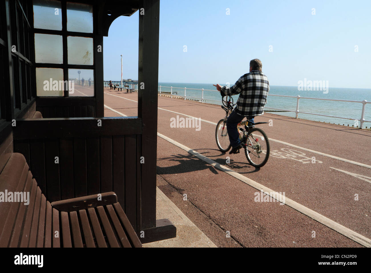 Seafront cycle lane, St Leonard's-on; sea, Hastings, East Sussex, UK - Stock Image