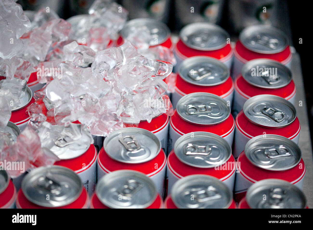 Drinks cans and ice cubes, close up - Stock Image