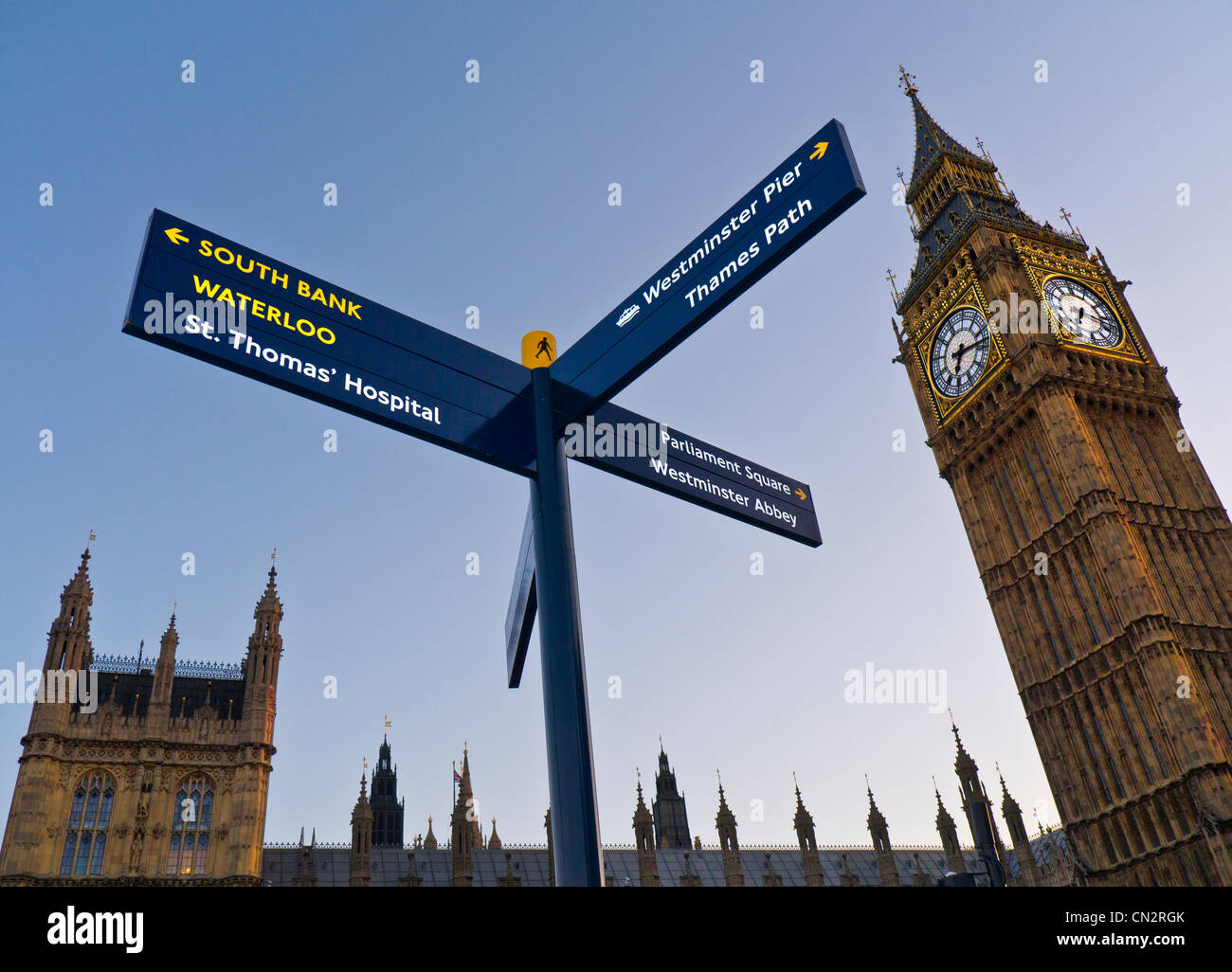 Sign post in Westminster directing visitors to points of interest Big Ben Clock Tower and Parliament building behind - Stock Image