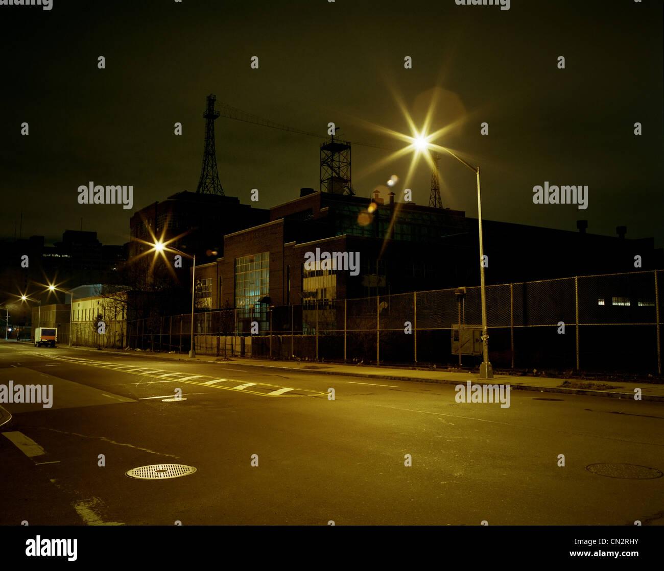 Street and Navy Yard at night, Brooklyn, New York, USA - Stock Image