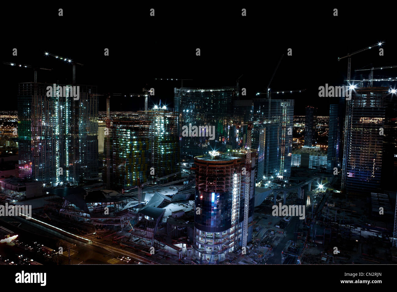 Skyscrapers and construction, Las Vegas, Nevada, USA - Stock Image