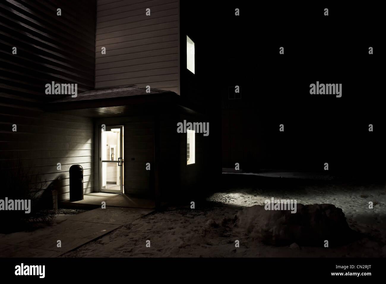 Light through hotel door, Big Sky Ski Resort, Montana, USA - Stock Image