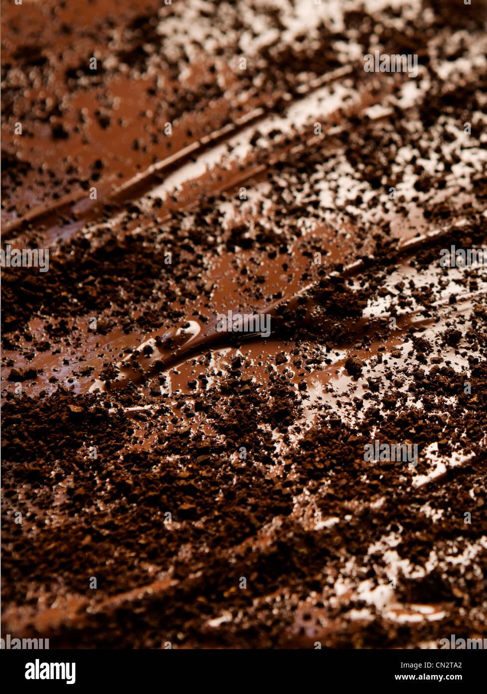 Chocolate icing, full frame - Stock Image