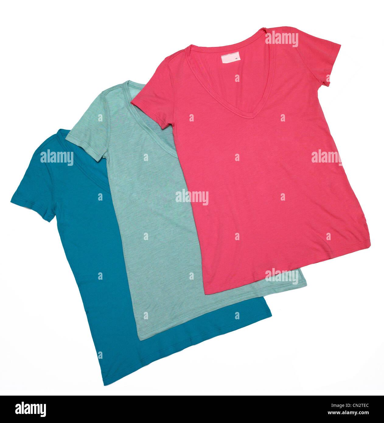 Three Female Tee Shirts - Stock Image