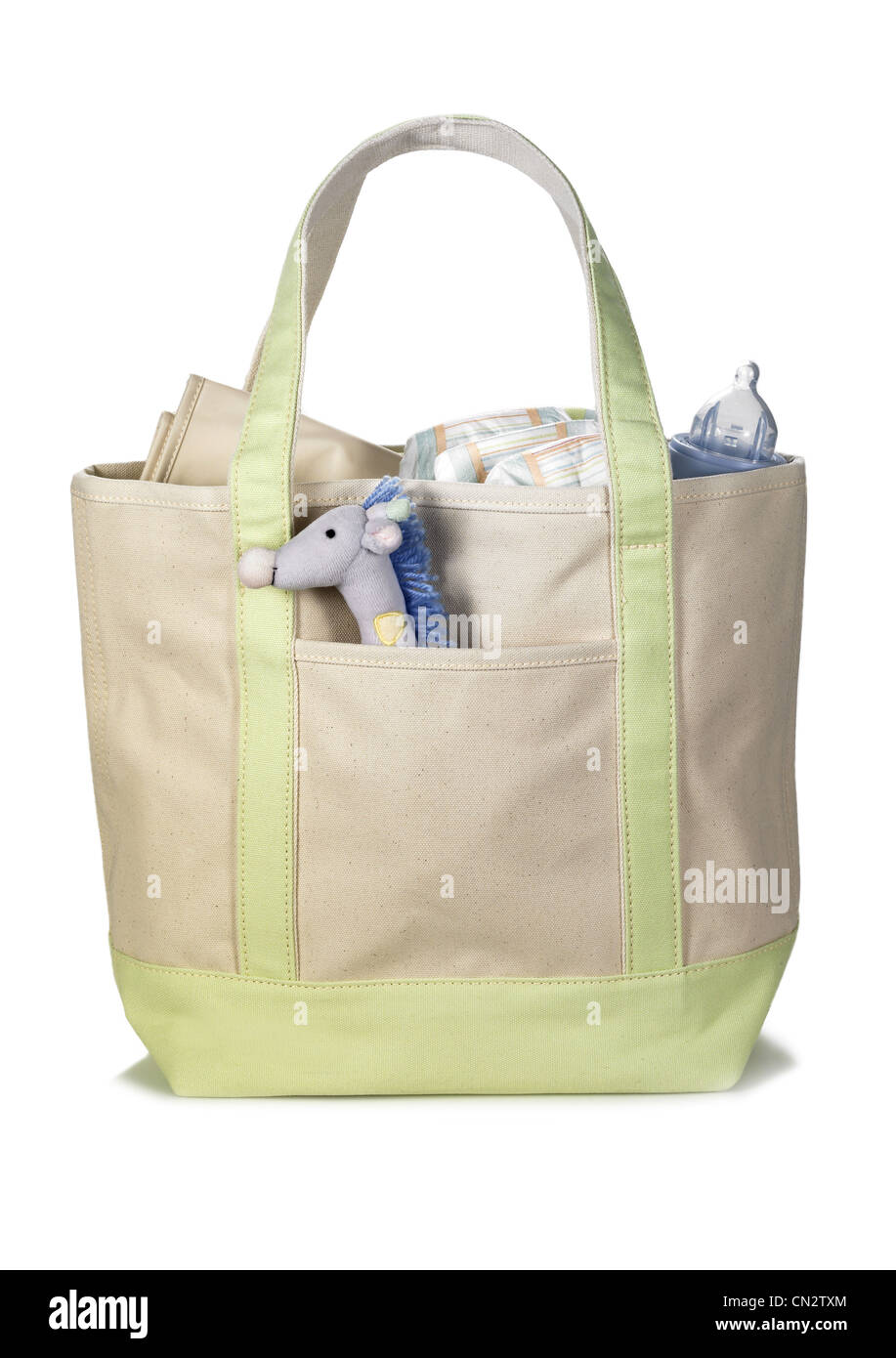Canvas Bag With Baby Supplies - Stock Image