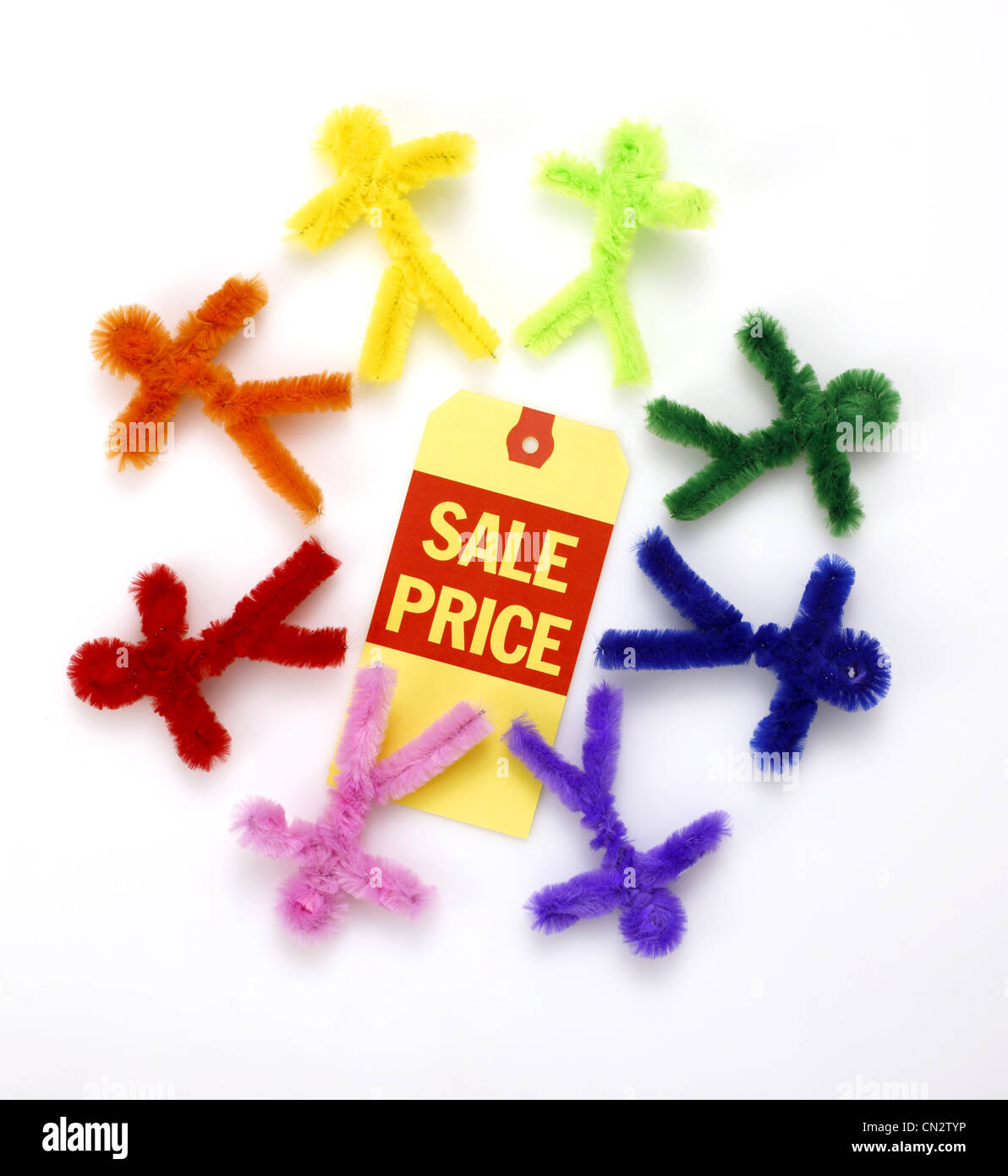 Sale Price Tag With Colorful Figures Made From Chenille Pipe Cleaners - Stock Image