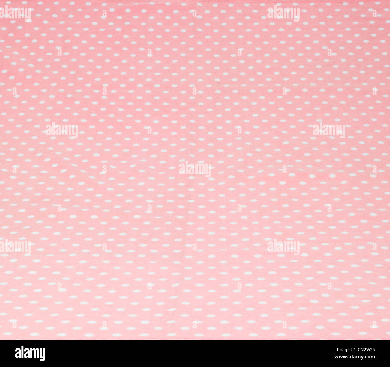Pink Fabric With White Polka Dots - Stock Image