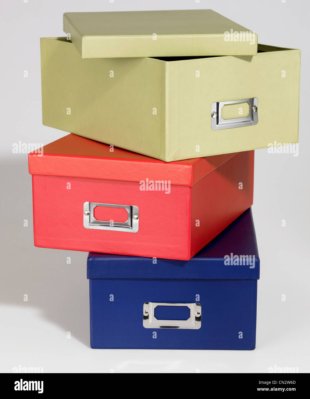 Colorful Stacked Storage Boxes - Stock Image