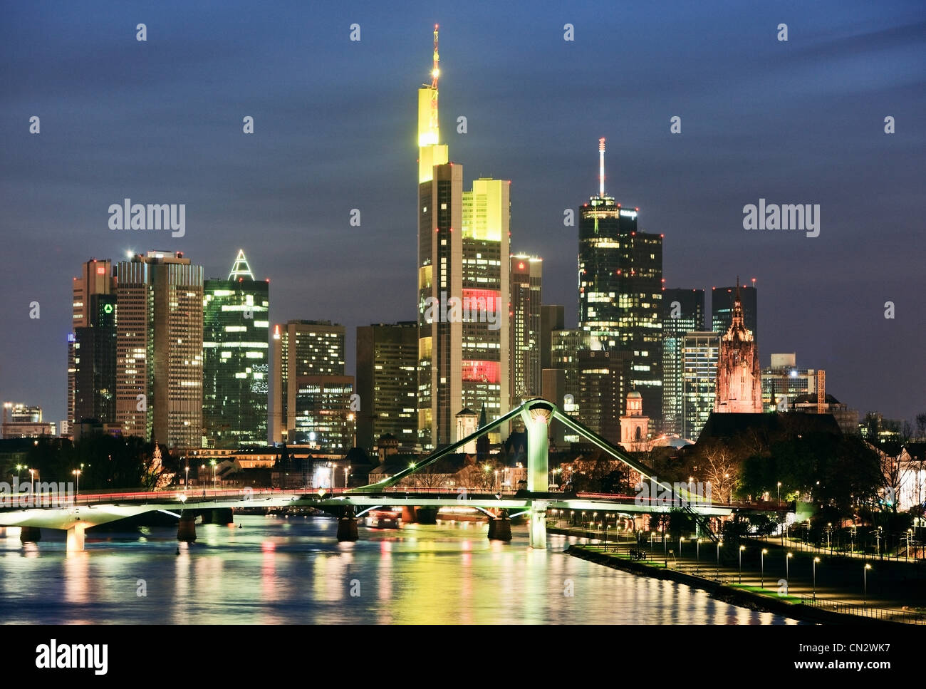 River Main and Frankfurt skyline at night, Frankfurt, Germany Stock Photo