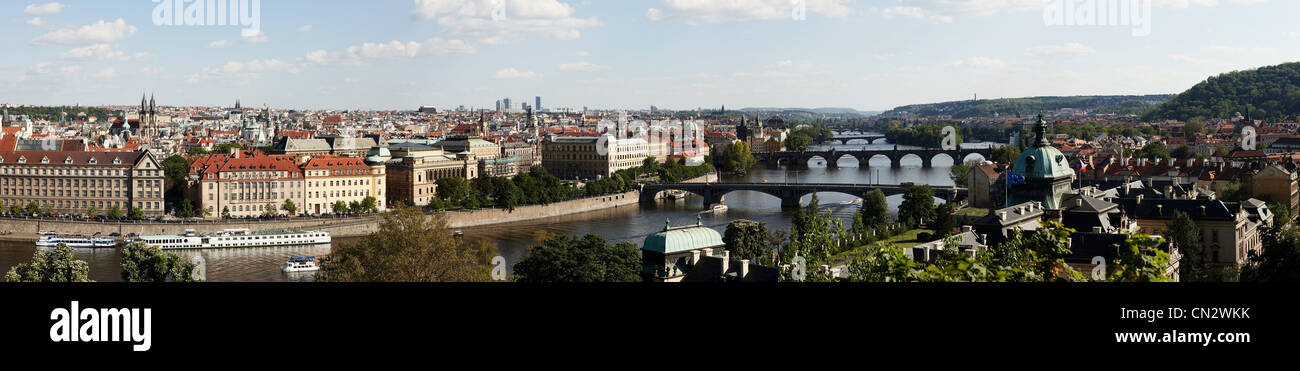 Panoramic view of Prague, Czech Republic - Stock Image