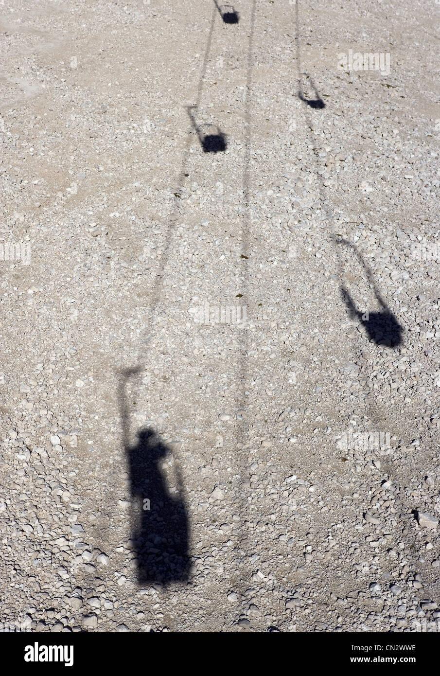 Cable car shadows, Dolomites, Alto Adige, Italy - Stock Image