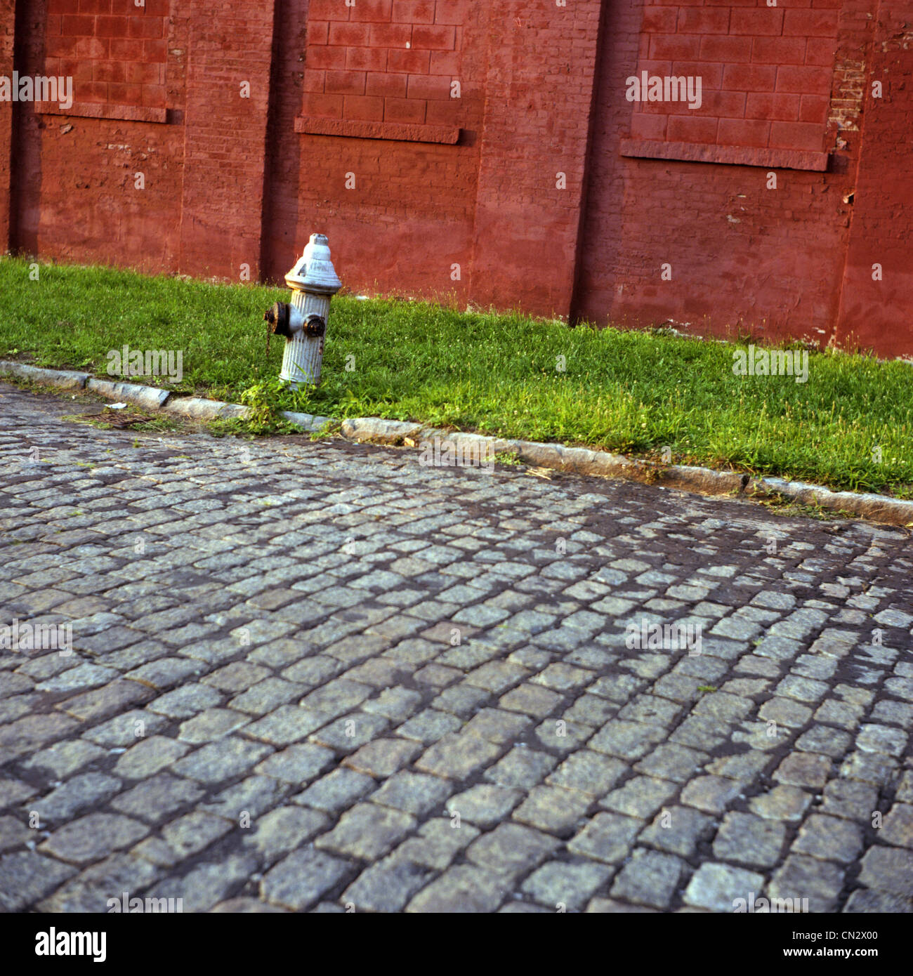Cobbled street and fire hydrant - Stock Image