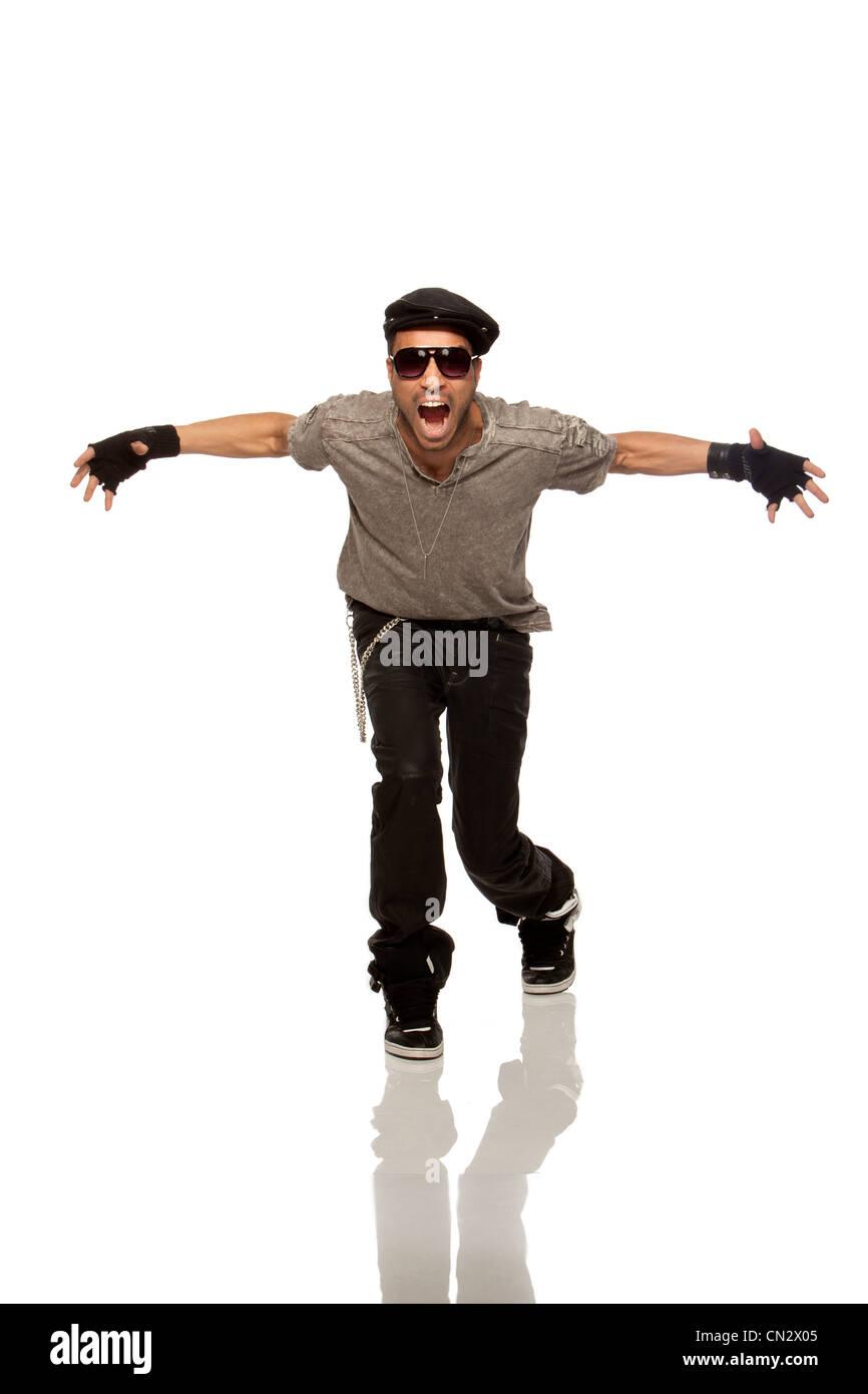 Portrait of man screaming - Stock Image