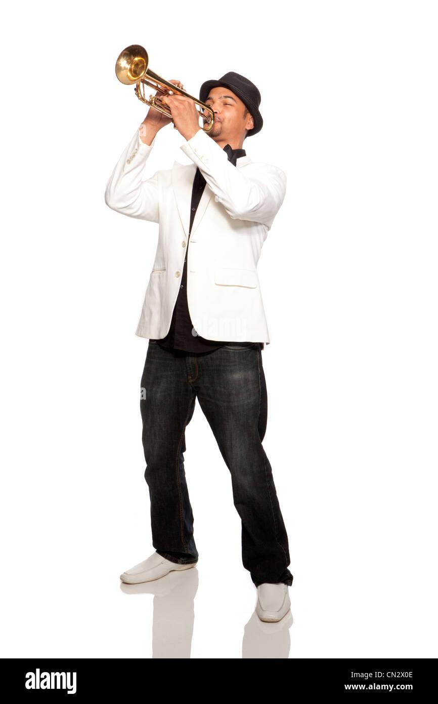 Man playing trumpet - Stock Image