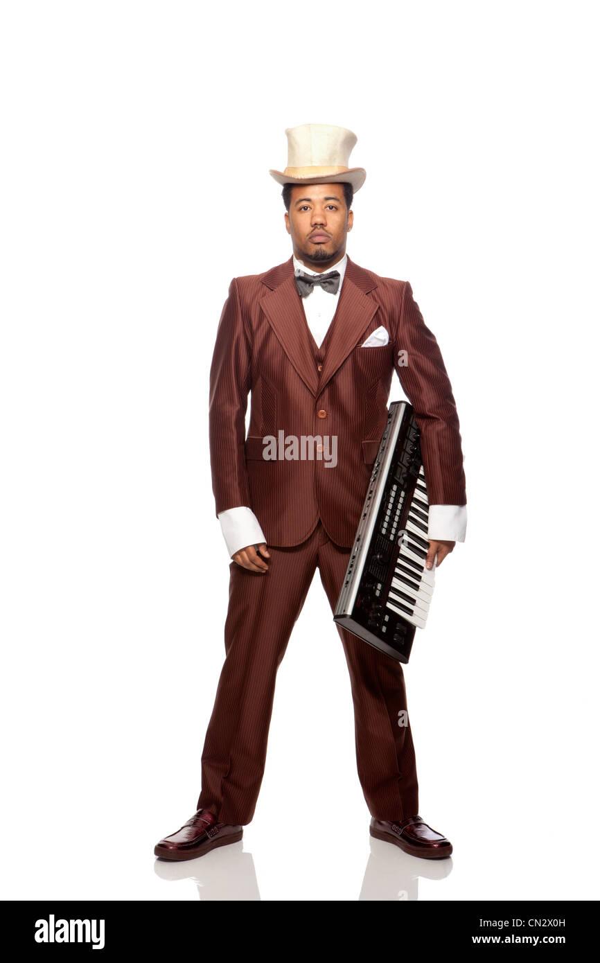 Man holding keyboard - Stock Image